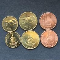 Vanuatu Set 3 Coins 1+2+5 Vatu Ozeanien Currency Munzen - Vanuatu
