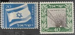 Israel   1949  20m Flag & 40m Petah   MLH   2016 Scott Value $6.50 - Israel