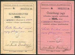 Hungary 1925 Railway Service Free Ticket ID + Additional Coupon Booklets (same Nr.) Eisenbahn Fahrschein Billet De Train - Week-en Maandabonnementen