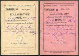 Hungary 1926 Railway Service Free Ticket ID + Additional Coupon Booklets (same Nr.) Eisenbahn Fahrschein Billet De Train - Abonnements Hebdomadaires & Mensuels