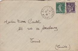 ESC De Bron (69) Pour Tunis (Tunisie) - 16 Janvier 1939 - Timbre YT 361 & 363 - 4 CAD - Postmark Collection (Covers)