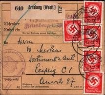 ! 1935 Paketkarte Deutsches Reich, Arnsberg In Westf. , Dienstmarken - Germania
