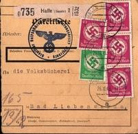 ! 1935 Paketkarte Deutsches Reich, Halle / Saale, Bücherei. , Dienstmarken - Covers & Documents