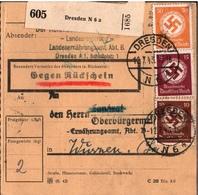 ! 1943 Paketkarte, Rückschein, Deutsches Reich, Dresden N6 Nach Wurzen, Dienstmarken - Deutschland