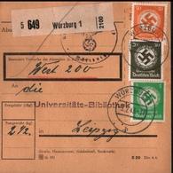 ! 1943 Paketkarte,  Deutsches Reich, Würzburg , Dienstmarken - Covers & Documents
