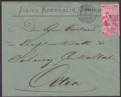 UPU   /   3.AUSGABE - NR. 78C   /   BRIEF VON ZÜRICH NACH OLTEN - 1882-1906 Wappen, Stehende Helvetia & UPU