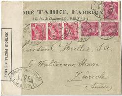 MERCURE 70CX3+5C ROSE X3 LETTRE PARIS 8.11.1939 POUR SUISSE CENSURE WD 371 - 1938-42 Mercure