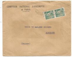 MERCURE 25C PAIRE PERFORE CNE LETTRE ENTETE CNEP DE PARIS VICHY ALLIER 1940 POUR SUISSE PEU COMMUN - 1938-42 Mercure