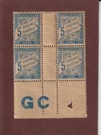 28a De 1893 / 1935 - TAXE - Bloc De 4 Bas De Feuille Neuf ** -  5c . Bleu - Imprimé Sur Papier G.C. - Voir Les 2 Scannes - 1859-1955 Nuevos