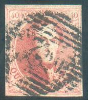 N°8A - Médaillon 40 Centimes Carmin-rose, TB Margé, Obl. P.2 ALOST - 15270 - 1851-1857 Médaillons (6/8)