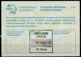 PAPUA NEW GUINEA La22J Handstamped 41 Toea / 30 Toea International Reply Coupon Reponse Antwortschein IAS IRC Mint ** - Papua New Guinea