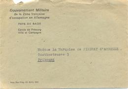 Gouvernement Militaire De La Zone Française D'Occupation En Allemagne FRIBOURG 2-5-1949 => Marquise De PINDRAY D'AMBELLE - Poststempel (Briefe)