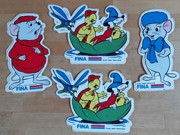 Lot De 4 Autocollants Bernard Et Bianca Pub Fina - Stickers