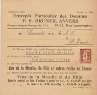 Préo 44 B Anvers 14 Antwerpen Drukw. Des Douanes - Vente Spéciale De Vins Vers St.Trond - St.Truiden - Precancels