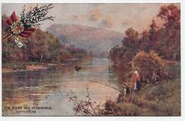 The River Tay At Dunkeld  - A De Breanski - Tuck OIlette 7925 - Peeblesshire