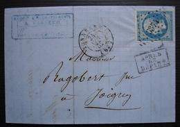 Tonnerre (Yonne) 1862 Lettre De A. Vasseur, Après Le Départ, Pc 3374 Sur N°14, Pour Joigny - 1849-1876: Classic Period
