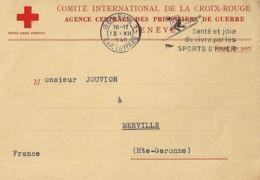 CROIX ROUGE: COMITE INTERNATIONAL CROIX ROUGE/CARTE RENSEIGNEMENT SUR UN PRISONNIER / 1940 - Marcophilie (Lettres)