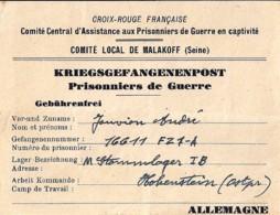CROIX ROUGE: FICHE ASSISTANCE PRISONNIERS DE GUERRE DE MALAKOFF - Rode Kruis