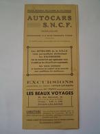 DEPLIANT TOURISME : TARIF / AUTOCARS SNCF / THONON / SAVOIE 1939 - Francia