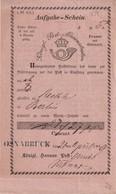 PREUSSEN  1859  AUFGABE-SCHEIN  OSNABRÜCK - Preussen