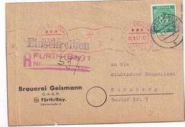 ALLEMAGNE 1947 LETTRE RECOMMANDEE CENSUREE DE FÜRTH - Zone AAS