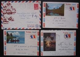 Tahiti Lot De 3 Lettres Poste Aux Armées + Un Devant De Lettre, Voir Photos ! - Military Postmarks From 1900 (out Of Wars Periods)