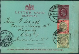 """1903, Card Letter 1d Edward VII. With Additional Franking From """"JOHANNESBURG"""" To Leipzig - Transvaal (1870-1909)"""