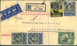 "1936, Registered Letter With Scarce ""R""-label ""Kipkarren Kenia"" Sent By Air Mail To Göppingen, Germany - Kenya, Uganda & Tanganyika"