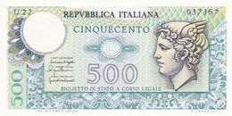ITALIA BANCONOTA DA LIRE 500 FDS MERCURIO DECRETO 5/6/76  SERIE U22  037367 - [ 2] 1946-… : Repubblica