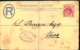 1892, 8 Cents Registered Stationery Envelope With Additional 4 Cents Sent Domestically From MAURITIUS To Vacoa - Mauritius (...-1967)