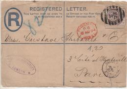 """""""REGISTERED LETTER"""" , Lettre Recommandée, LONDRES Pour PARIS Via CALAIS, 8 Août 1884, Fragment Face Avant. - Lettres & Documents"""