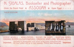 Advertising - Egypt - Assouan - N. Sigalas - Bookseller And Photographer - Advertising