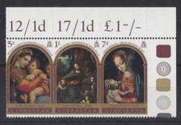 """GIBRALTAR.......QUEEN ELIZABETH II.(1952-NOW)...."""" 1969 """"....CHRISTMAS...MARGINAL......MNH... - Weihnachten"""