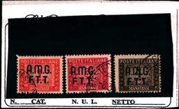 93422) ITALIA.- Trieste AMG-FTT- 1947-49-Segnatasse SOPR. SU 2  RIGHE-Ruota 3 VALORI USATI - 7. Triest