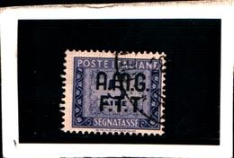 93423) ITALIA.- Trieste AMG-FTT- 1947-49- 5 LIRE-Segnatasse 2 RIGHE-Ruota USATO - 7. Triest