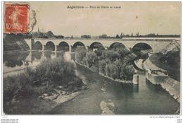 CPA..47..AIGUILLON..LOT ET GARONNE..PONT DE PIERRE ET CANAL..ECLUSE.. - France