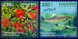 Used Armenia 2018, Flora & Fauna.Pomegranate (Punica Granatum) & Caucasian Scraper (Capoeta Capoeta Sevangi) 2V. - Armenia