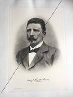 1898 Rare Lithographie Industrie Belge Van Roosbroock Fabrique De Voiture Automobile à Bruxelles - Documents Historiques