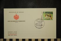 CP, MONACO, Enveloppe 1er Jour, EXPOSITION CANINE INTERNATIONALE, KING CHARLES SPANIEL, 14 Mars 1994 - FDC