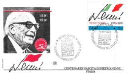 [MD4566] FDC - PIETRO NENNI - POLITICA - CENTENARIO NASCITA 1891 - 1991 - CON ANNULLO 2.11.1991 - PERFETTA - NV - 6. 1946-.. Repubblica