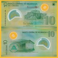 Nicaragua 10 Cordobas P-201b 2007 UNC Polymer Banknotes - Nicaragua