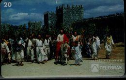 BRAZIL 1995 PHONECARD ENTRANCE OF JESUS ON THE WHITE DONKEY IN JERUSALEM USED VF!! - Christmas