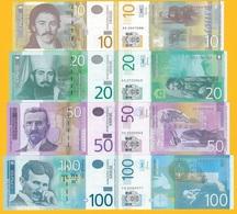 Serbia Set 10, 20, 50, 100 Dinara 2013-2014 UNC Banknotes - Serbia
