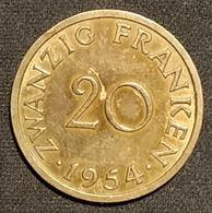 ALLEMAGNE - SAARLAND - 20 FRANKEN 1954 - KM 2 - ( Sarre ) - [ 8] Saarland
