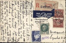 Rare CP Enfant En Recommandé Par Avion Pour La Hongrie Transit Suisse YT 515 X2 + 518 + 522 CAD Cannes 12 XI 42 - Marcophilie (Lettres)
