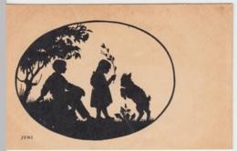 (8568) AK Scherenschnitt, Kinder Mit Zicklein 1918 - Scherenschnitt - Silhouette