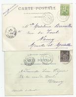 11aude Carcassonne   Lot De 2 Cpa Cachet 1899 - Marcophilie (Lettres)