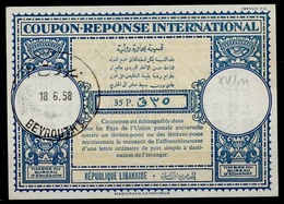 LEBANON / LIBAN Lo16n 35P. International Reply Coupon Reponse Antwortschein IAS IRC o BEYROUTH 18.06.58 - Liban
