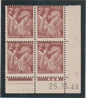 N°653  Bloc De 4 Coin Daté ** - 1939-44 Iris