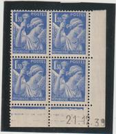 N°434  Bloc De 4 Coin Daté ** - 1939-44 Iris